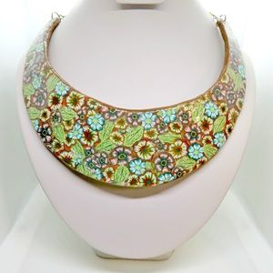 Floral Bib Statement necklace, Collar, Handmade